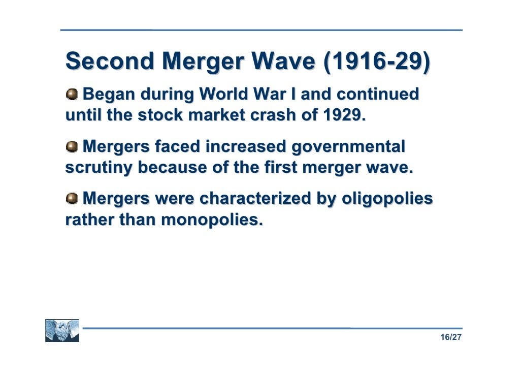 merger waves 2 how have m&as changed evidence from the sixth merger wave 1 introduction recent studies have examined the characteristics and success of m&as during the fifth.