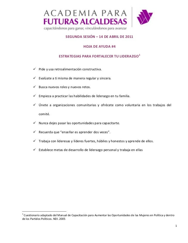 SEGUNDA SESIÓN – 14 DE ABRIL DE 2011<br />HOJA DE AYUDA #4<br />ESTRATEGIAS PARA FORTALECER TU LIDERAZGO<br />Pide y usa r...