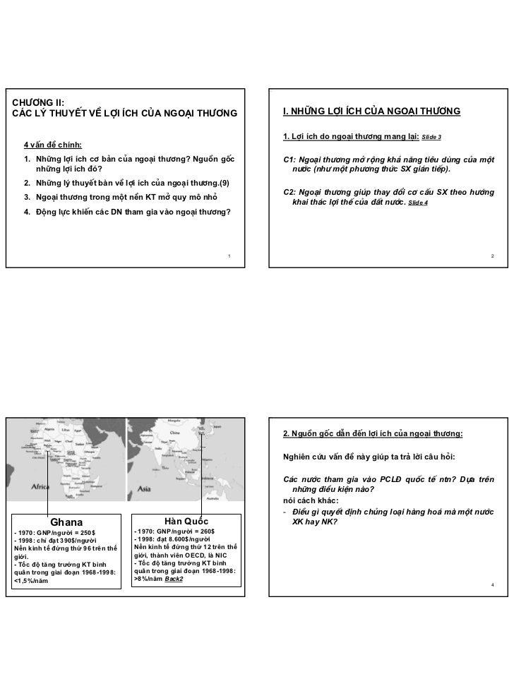 Slide Chapter 2-VDC-FTU     Ch−¬ng ii:     c¸c lý thuyÕt vÒ lîi Ých cña ngo¹i th−¬ng                              I. Nh÷ng...