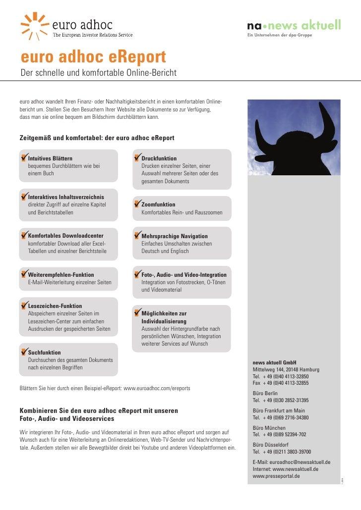 euro adhoc eReport Der schnelle und komfortable Online-Bericht  euro adhoc wandelt Ihren Finanz- oder Nachhaltigkeitsberic...