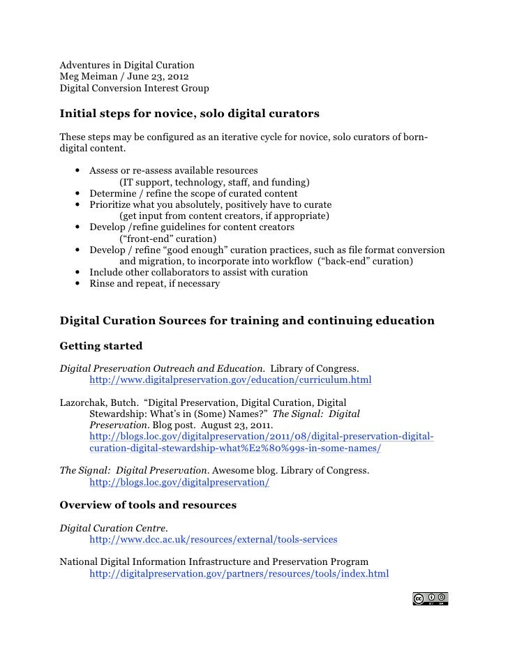 Handout for adventures in digital curation