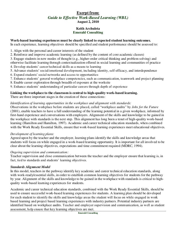 Exerpt from:                           Guide to Effective Work-Based Learning (WBL)                                       ...
