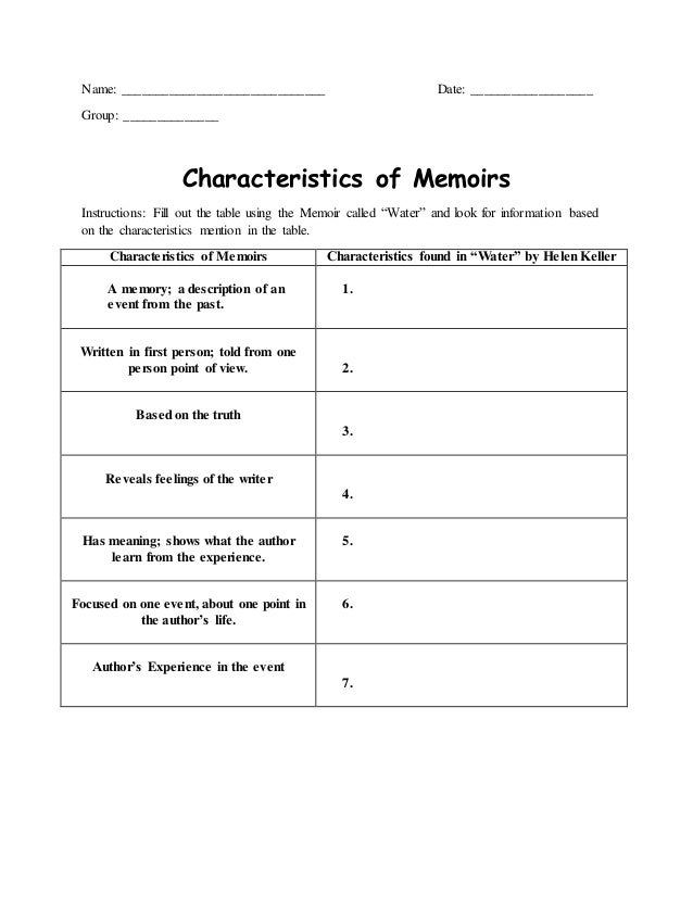 """Worksheets for the Lesson plan for the Memoir """"Water"""""""