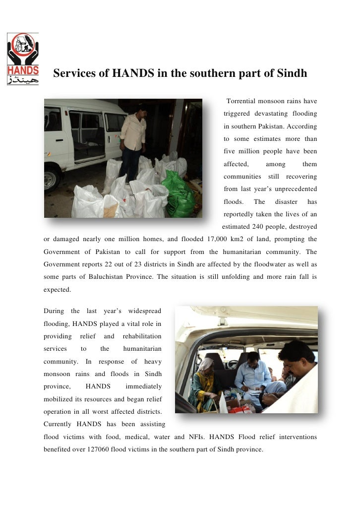 Services of HANDS in the southern part of Sindh