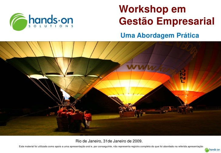 Hands On  Solutions    Workshop em  Gestao  Empresarial    Material do Participante