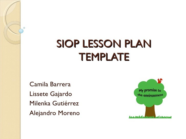 Siop Lesson Plan First Grade