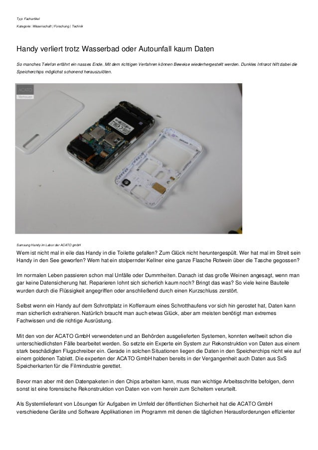 Typ: Fachartikel Kategorie: Wissenschaft | Forschung | Technik Handy verliert trotz Wasserbad oder Autounfall kaum Daten S...