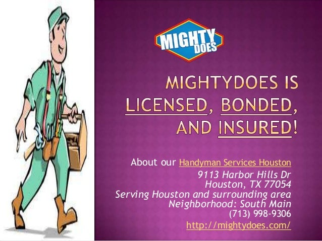 About our Handyman Services Houston 9113 Harbor Hills Dr Houston, TX 77054 Serving Houston and surrounding area Neighborho...