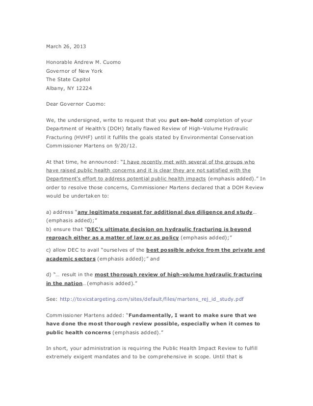 March 26, 2013Honorable Andrew M. CuomoGovernor of New YorkThe State CapitolAlbany, NY 12224Dear Governor Cuomo:We, the un...