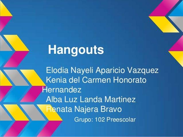 Hangouts Elodia Nayeli Aparicio Vazquez Kenia del Carmen HonoratoHernandez Alba Luz Landa Martinez Renata Najera Bravo    ...