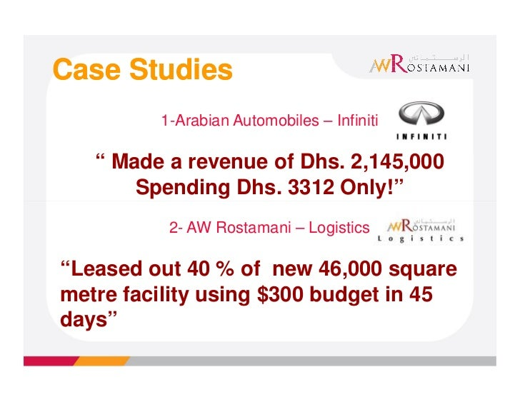 "Case Studies         1-Arabian Automobiles – Infiniti   "" Made a revenue of Dhs. 2,145,000       Spending Dhs. 3312 Only!""..."