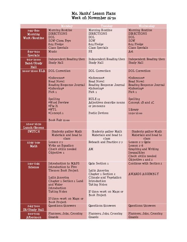 Ms. Hanks' Lesson Plans                                    Week of: November 26-30                           Monday       ...
