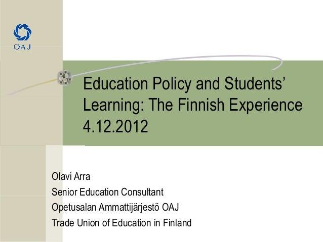 Finnish education - Trade Union of Education