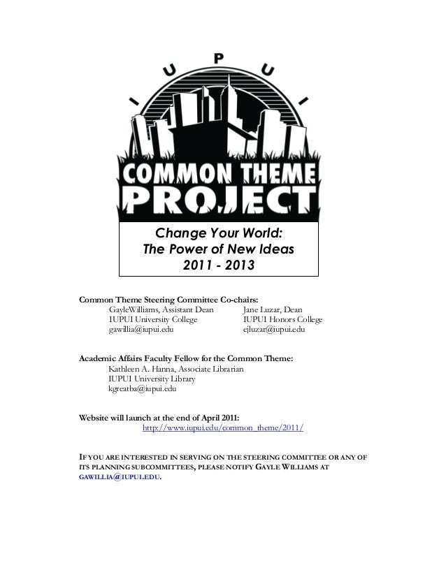 The Common Theme Project -  handout for Nursing
