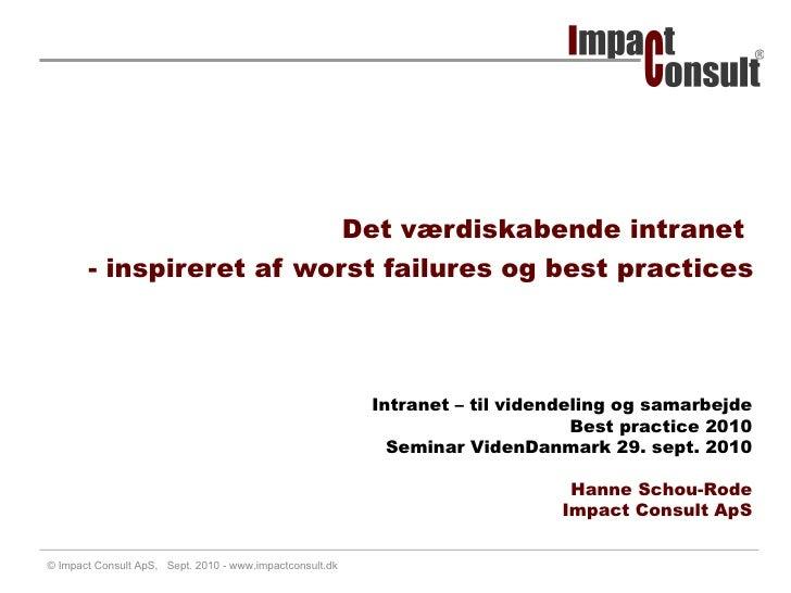 Hanne Schou Rode: Intranet Best Practice 2010