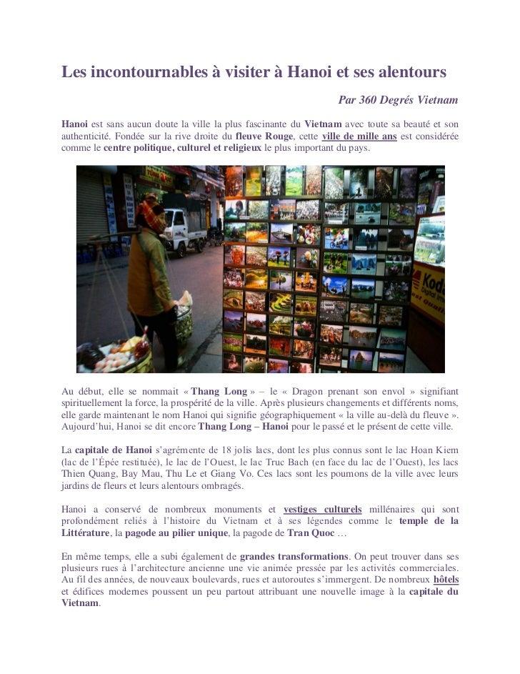 Les incontournables à visiter à Hanoi et ses alentours                                                                    ...