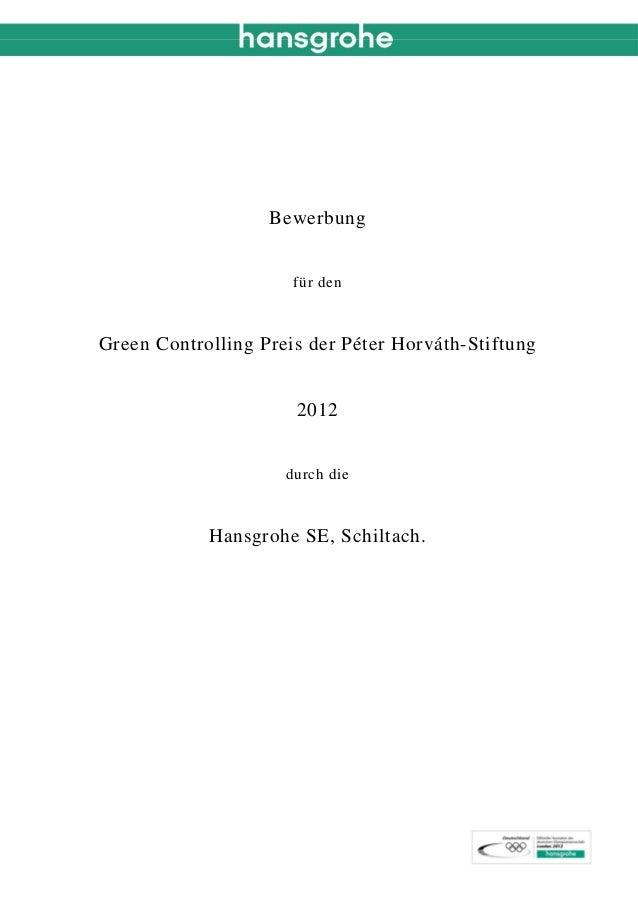 Bewerbung                      für denGreen Controlling Preis der Péter Horváth-Stiftung                      2012        ...