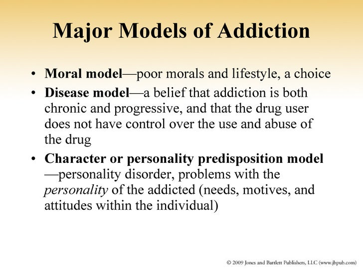12 models of addiction There are various ways to look at recovery from addiction likely the most common is the 12-step model which encourages abstinence, meaning its aim and goal for.