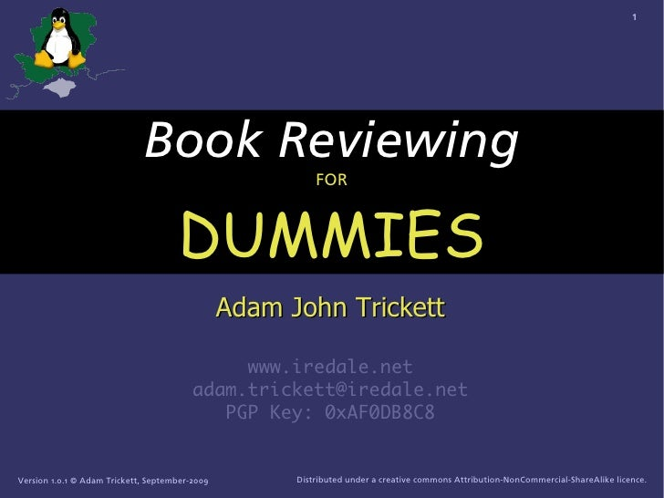 How to Review a Book (For Hants-LUG)