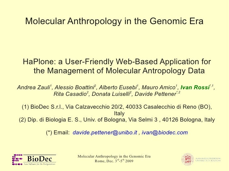 Molecular Anthropology in the Genomic Era      HaPlone: a User-Friendly Web-Based Application for     the Management of Mo...