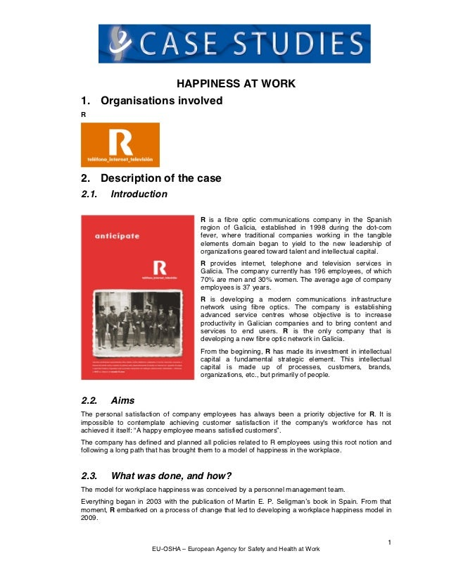 HAPPINESS AT WORK1. Organisations involvedR2. Description of the case2.1.     Introduction                                ...