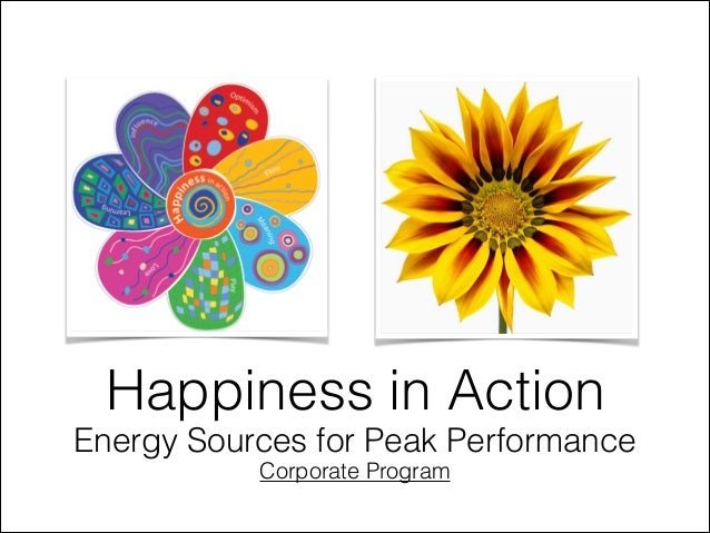 Happiness in Action Energy Sources for Peak Performance Corporate Program