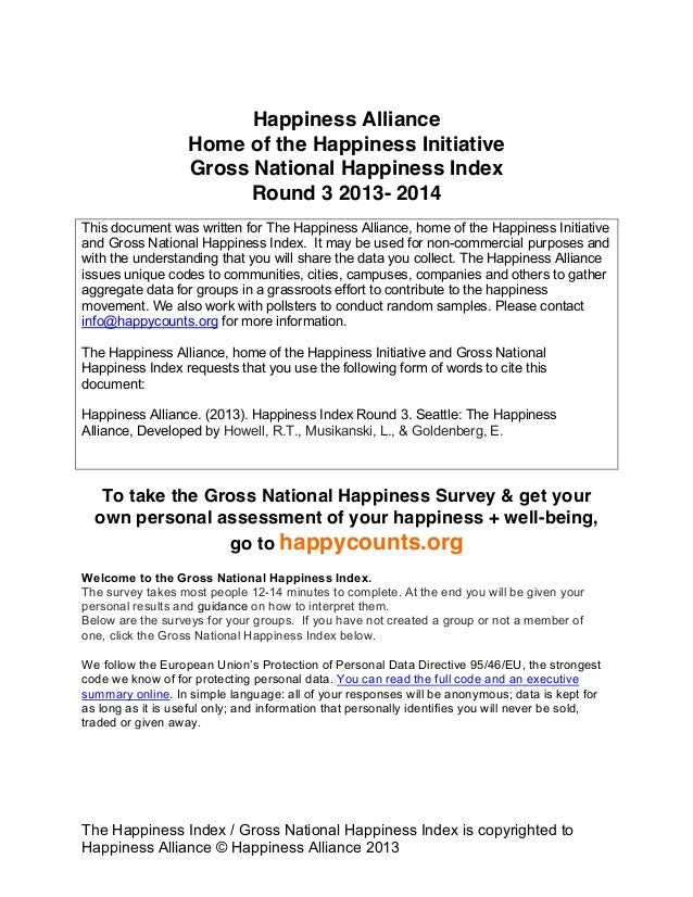The Happiness Index / Gross National Happiness Index is copyrighted to Happiness Alliance © Happiness Alliance 2013 Happin...