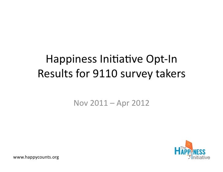 Happiness	  Ini*a*ve	  Opt-­‐In	             Results	  for	  9110	  survey	  takers	                            Nov	  2011...