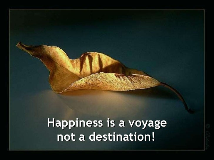 Happiness is a voyage not a destination!