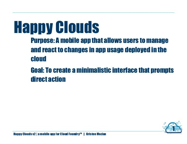 Happy Clouds            Purpose: A mobile app that allows users to manage            and react to changes in app usage dep...