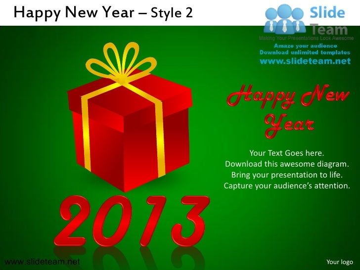 Happy new year style design 2 powerpoint slides.