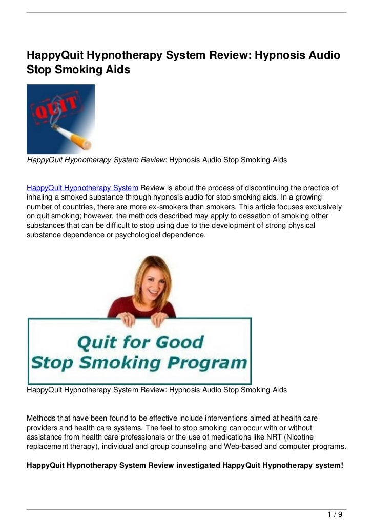 HappyQuit Hypnotherapy System Review: Hypnosis AudioStop Smoking AidsHappyQuit Hypnotherapy System Review: Hypnosis Audio ...