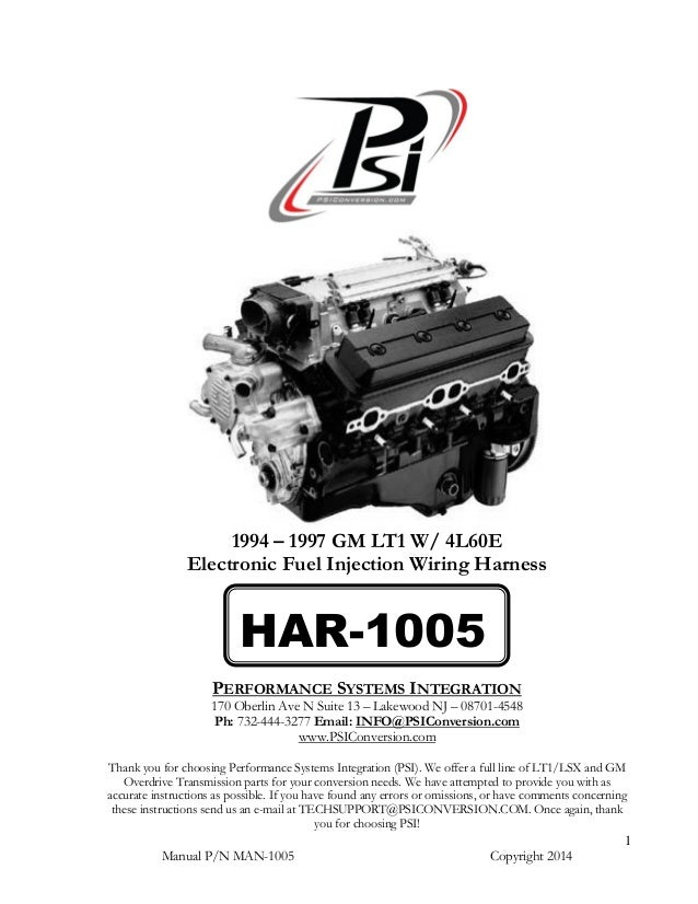 Har 1005 lt1 Harness Instructions Manual