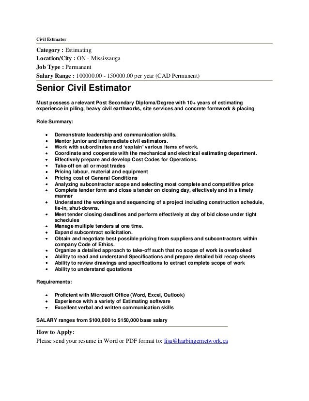 Sample Construction Estimator Cover Letter Construction Estimator