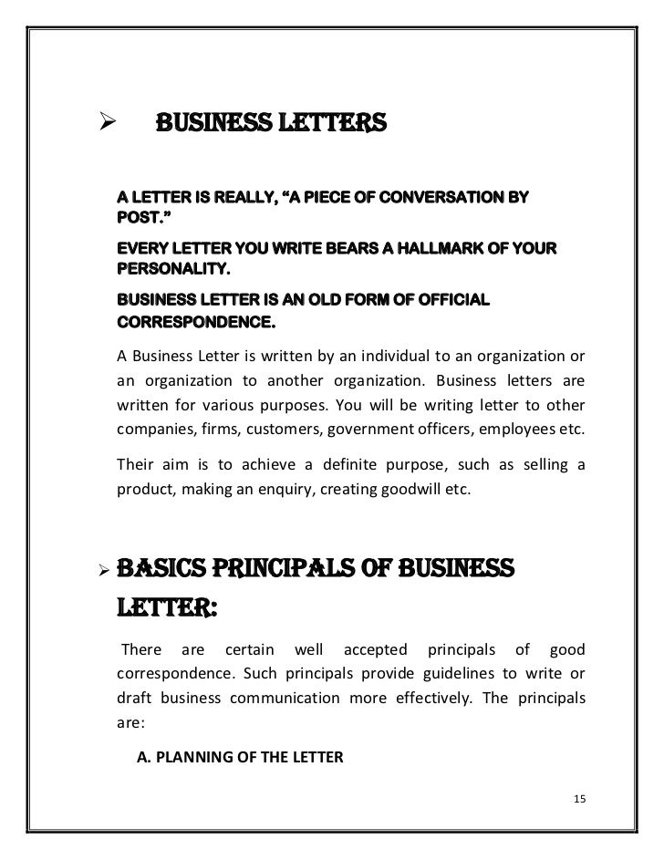 Forms Of Business Letters