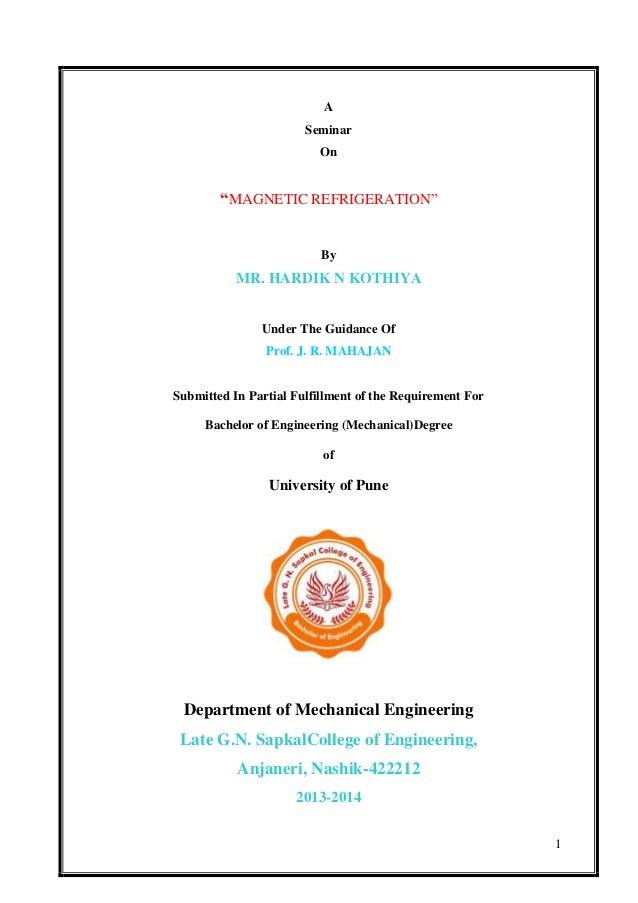 a seminar report magnetic refrigeration