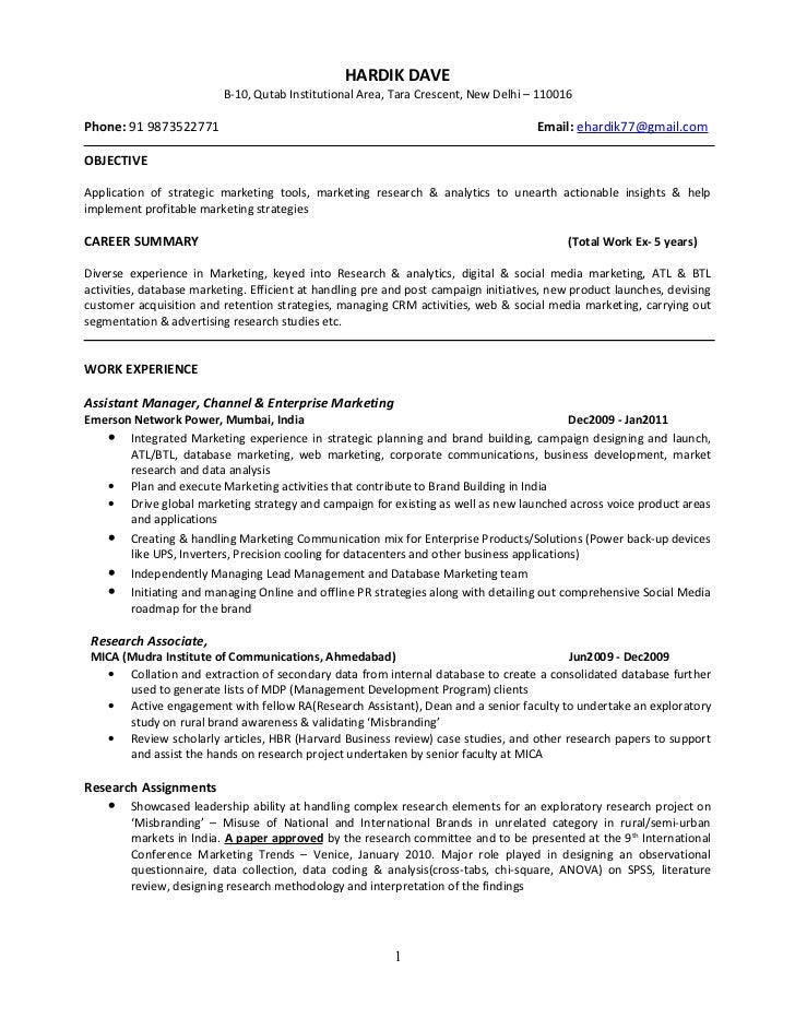 mba marketing resume samples