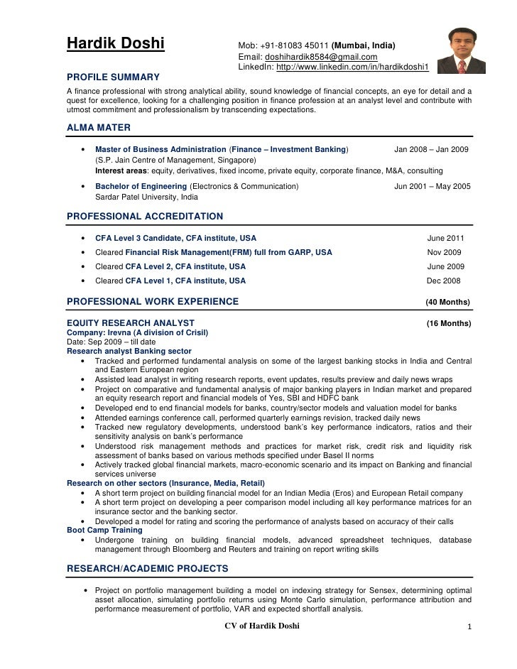 equity analyst resumes - Template