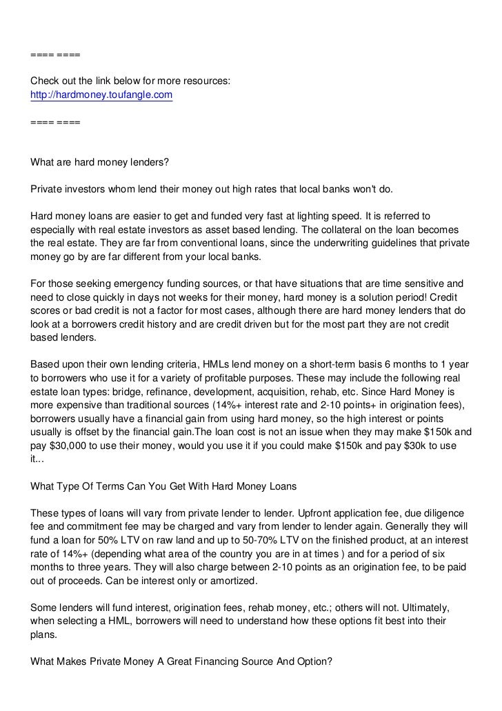 ==== ====Check out the link below for more resources:http://hardmoney.toufangle.com==== ====What are hard money lenders?Pr...