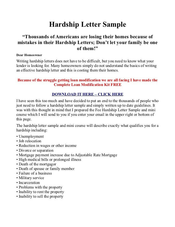 Hardship Letter Sample And Testimony