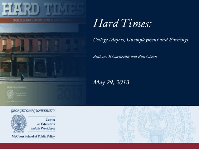 Hard Times: College Majors, Unemployment and Earnings Anthony P. Carnevale and Ban Cheah May 29, 2013