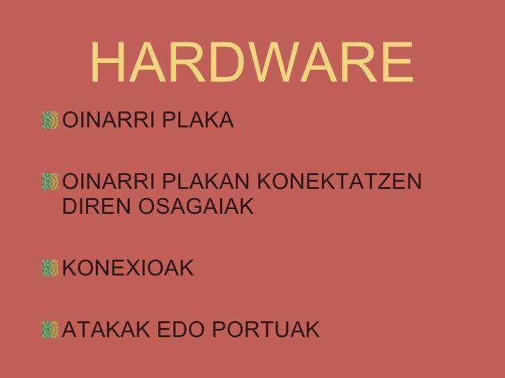 HARDWARE <ul><li>OINARRI PLAKA </li></ul><ul><li>OINARRI PLAKAN KONEKTATZEN DIREN OSAGAIAK </li></ul><ul><li>KONEXIOAK </l...