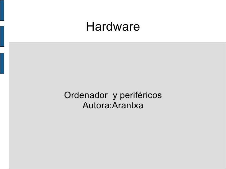 Hardware Ordenador  y periféricos Autora:Arantxa