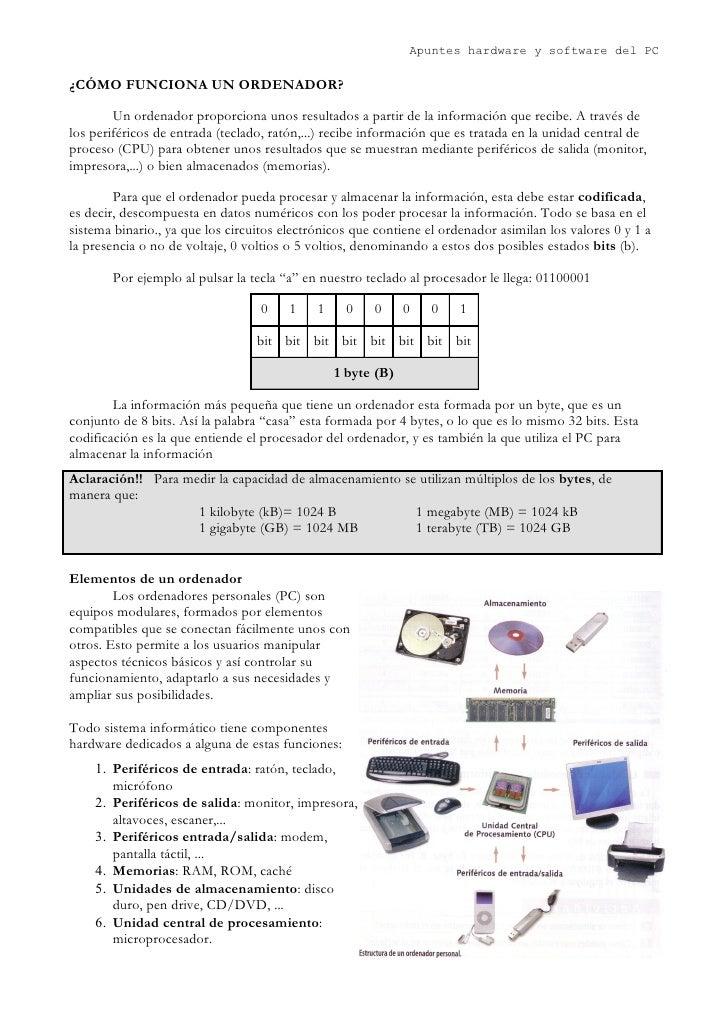Apuntes hardware y software del PC  ¿CÓMO FUNCIONA UN ORDENADOR?          Un ordenador proporciona unos resultados a parti...