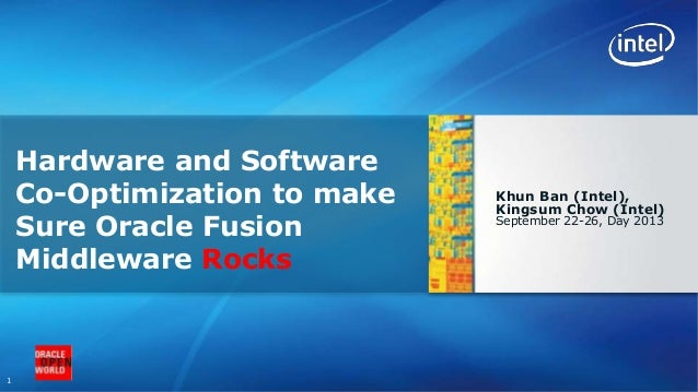 1 Khun Ban (Intel), Kingsum Chow (Intel) September 22-26, Day 2013 Hardware and Software Co-Optimization to make Sure Orac...