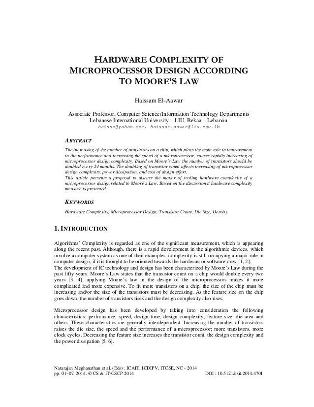 Hardware Complexity of Microprocessor Design According to Moore's Law