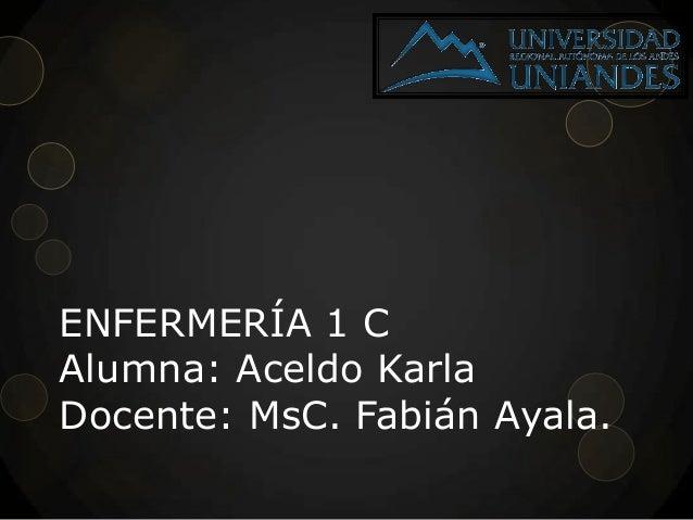 ENFERMERÍA 1 C Alumna: Aceldo Karla Docente: MsC. Fabián Ayala.