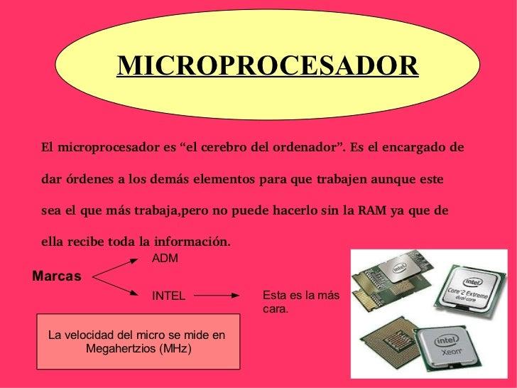 """El microprocesador es """"el cerebro del ordenador"""". Es el encargado de dar órdenes a los demás elementos para que trabajen a..."""