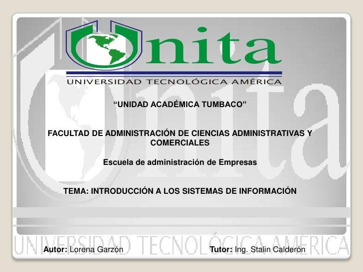 """nita      UNIVERSIDAD TECNOLÓGICA AMÉRICA                    """"UNIDAD ACADÉMICA TUMBACO""""    FACULTAD DE ADMINISTRACIÓN DE C..."""