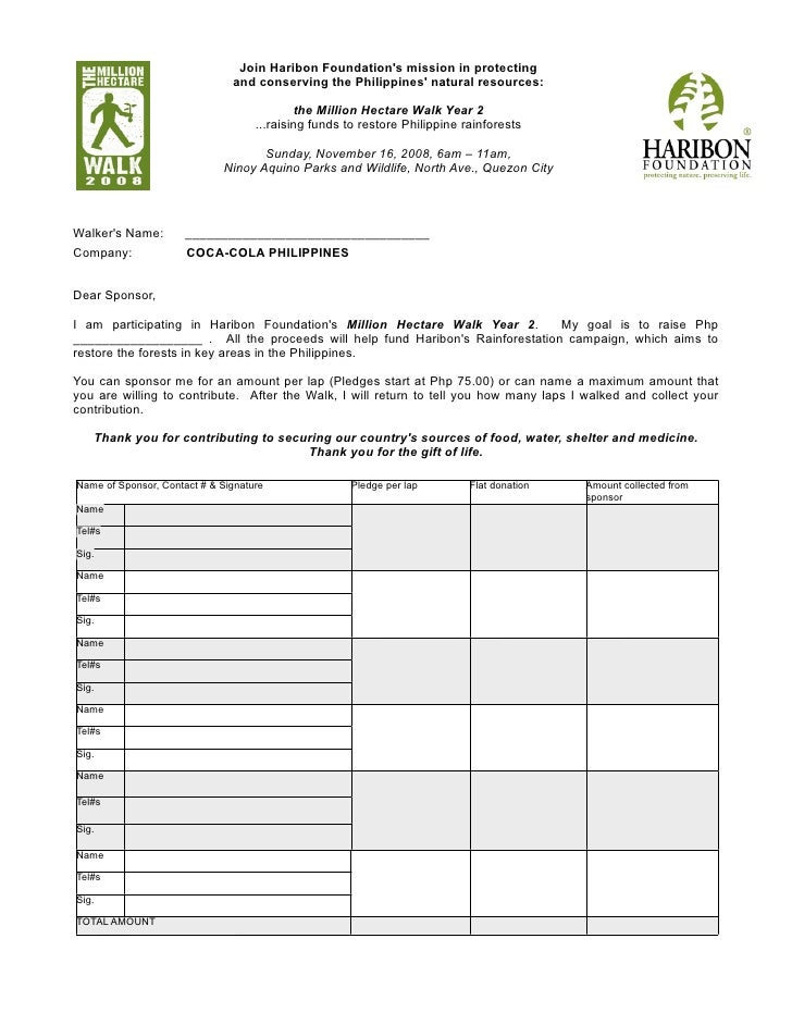 Haribon Million Hectare Walk Pledge Form